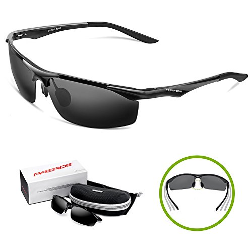 13ee4e0c77 PAERDE Men s Sports Style Polarized Sunglasses for Men Driving Cycling  Fishing Golf Running Unbreakable Metal Frame Driver Glasses PA01
