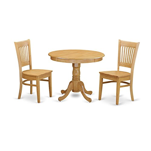 East West Furniture ANVA3-OAK-W 3 Piece Small Dining Table and 2 Kitchen Chair - Round W/2 Table Chairs