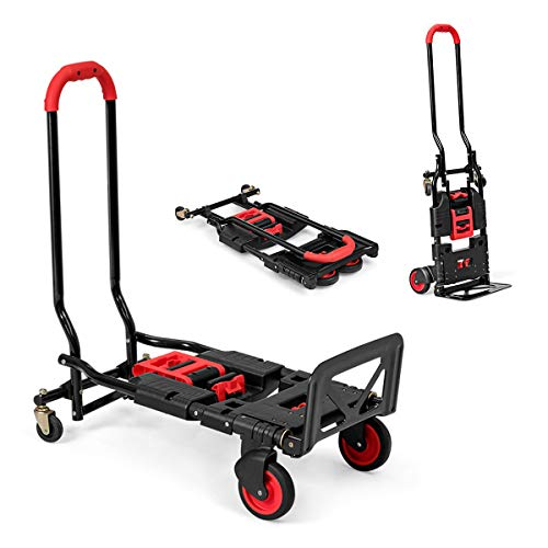 Goplus Folding Hand Truck, 2 in 1 Convertible Dolly, Multi-Functional Utility Cart, Heavy Duty Iron Frame Portable Truck Cart