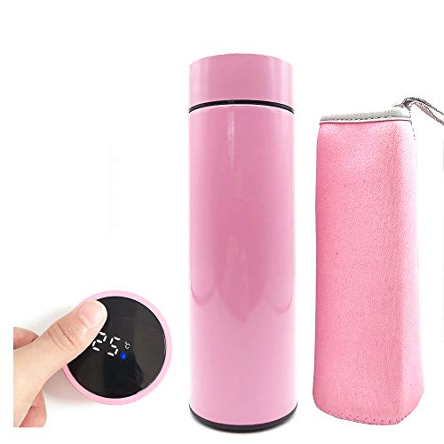 YHKJ 500ml Water Bottle,Travel Mugs, Stainless Steel Insulated Water Bottle,Touch Interactive,Temperature (Red)