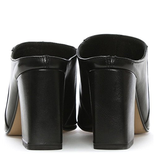Mula De Daniel Cuero Negro Pammy Bloque Talón Black Leather