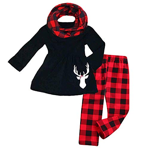 3Pcs Toddler Baby Girl Long Sleeve Reindeer T-Shirt Dress Top+Plaid Pant with Scarf Christmas Outfit Set Red