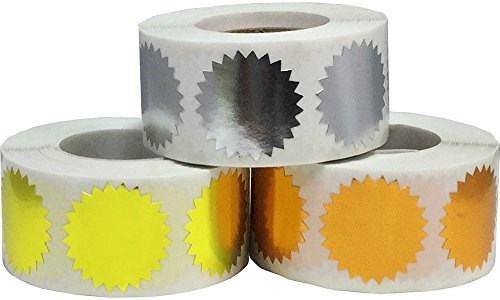 Envelope Package Seals Serrated Edge Color Coding Labels Bulk Pack Certificate Award Stickers 3 Different Colors 1 Inch Round 1,500 Total Adhesive Stickers