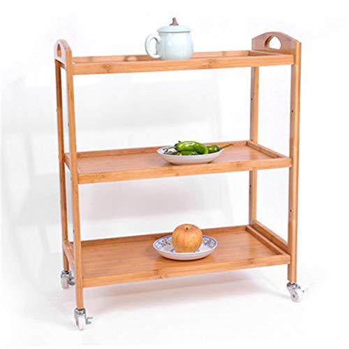 BinSanDa Home Estantes de Cocina, Bambú Móvil Carrito Estante Calentador Estante IKEA Sencillo Belleza Carrito de Té Madera Sólida Cocina Cocina Espesor ...