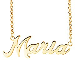 Fujin Personalized Necklace Custom Name Nameplate Pendant Necklace For Women In Silver Gift To The One Maria In Gold