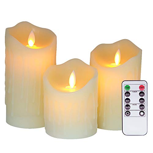 Eldnacele Flameless Flickering Battery Operated Candles Moving Wick with Remote Timer LED Pillar Candles Warm Light Unscented Realistic Flame (3