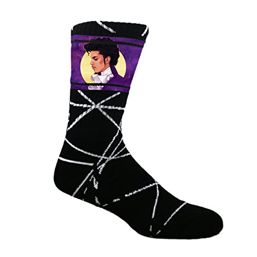 MOXY Socks Black Prince Purple Rain Dye-Sublimated Crew Socks (Prince Socks)
