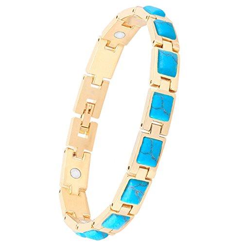 Women Magnetic Therapy Opal Bracelets Health Copper Zinc Alloy Bracelet Pain Relief for Arthritis (Turquoise)