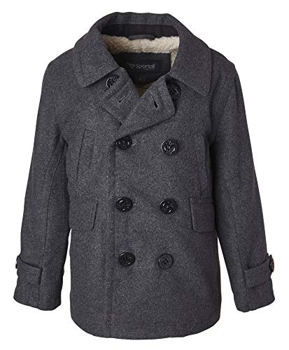 Sportoli Boy Classic Wool Blend Sherpa Winter Dress Pea Coat Peacoat Jacket - Charcoal (Size 10/12)