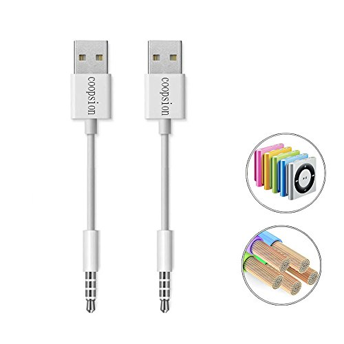 coopsion iPod Shuffle Cable, 3.5mm Jack/Plug to USB USB Power Charger Sync Data Transfer Cable for iPod Shuffle 3rd 4th 5th MP3/MP4 (2 Pack)