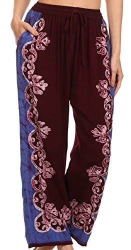 Sakkas 4217 - Margiela Embroidered Stonewashed Wide Leg Palazzo Pant - Burgandy / Blue - OS (Embroidered Drawstring Pants)