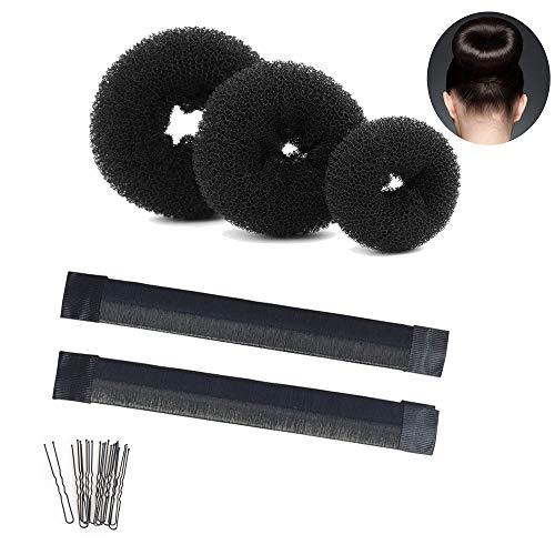 Hair Donut Bun Maker Kits-Bun Maker with 3 Pcs Donut Bun Maker, 2 Pack Foam French Twist Hairstyle Clip DIY Doughnuts, 10 Pcs Hair Pins for Women,Girls,Dancer(Black)