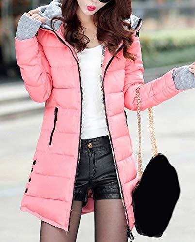 Slim Manches Hiver Parka Longues Hiver Pink Outerwear Costume Mode Longues Grande Femme Fit Taille Chaud Veste paissir Elgante Stepp Chemine Capuchon 0wwgSzdq