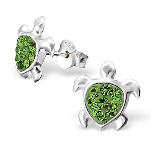 925 Sterling Silver Peridot Green Crystal Turtle Ear Studs (Snapping Turtle Shell)