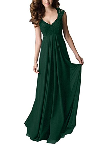SYLVIEY Women's Deep- V Neck Sleeveless Vintage Maxi Party Evening Dress L Green (Formal Vintage Gowns)