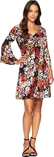 London Times Women's 3/4 Bell Sleeve V Neck FIT and Flare Dress, Black/Pink, 12 -