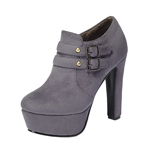 Mee Shoes Damen Reißverschluss high heels Plateau Ankle Boots Grau