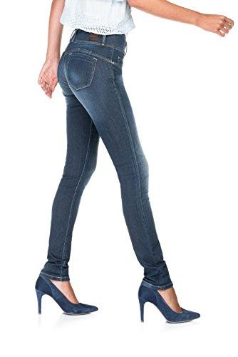 SALSA Vaqueros Push Up Mystery con pierna pitillo y costura marrón Azul