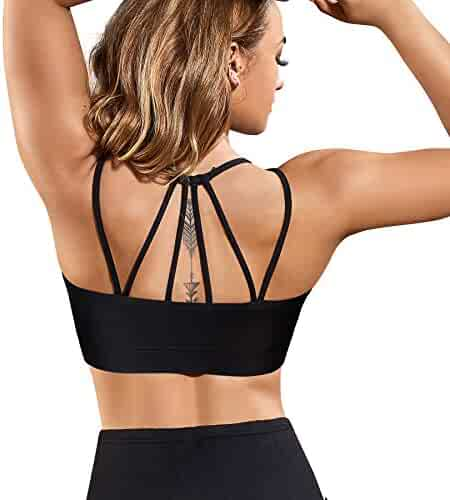 cfa79a6179e2f Rolewpy Women's Removable Padded Sports Bras Medium Support Workout Strappy  Yoga Bra