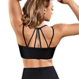Rolewpy Women's Removable Padded Sports Bras Medium Support Workout Yoga Bra (Black Running Bra, M Fit 34C 34D 36A 36B) Review