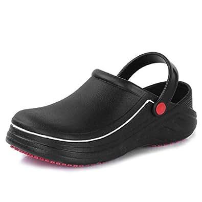 fanture Men Women Slip Resistant Specialist Chef Clogs Mulitfunctional Restaurant Kitchen Garden Safety Work Medical Shoes,B.Black01-38.39