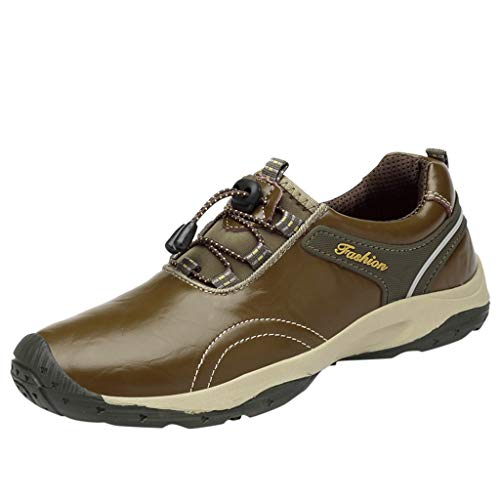 ◕‿◕Watere◕‿◕ Men's Sneakers,Men Hiking Leather Shoes Waterproof Non-Slip Sports Shoes Travel Climbing Shoes Gray