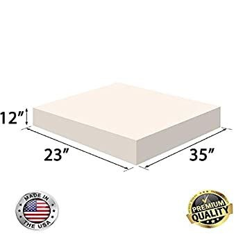 Image of FoamRush 12' x 23' x 35' Upholstery Foam Cushion High Density (Chair Cushion Square Foam for Dinning Chairs, Wheelchair Seat Cushion Replacement) Home and Kitchen
