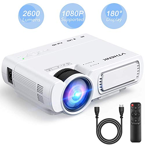 Home Cinema Led Projector – VTHENK Mini Video Projector 2600 Lux 1080P Full HD with 180″ Display, Compatible with HDMI, VGA, TV, PS4, AV, USB, Mobile Phone and Laptop