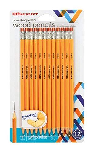 (Office Depot Brand Presharpened Pencils, 2 Medium Soft Lead, Yellow, Pack of 12)