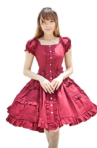 Nuoqi Womens Lolita Sweet Puff Pleated School Girl Bubble Dress Wine Red (Big Poofy Dresses)