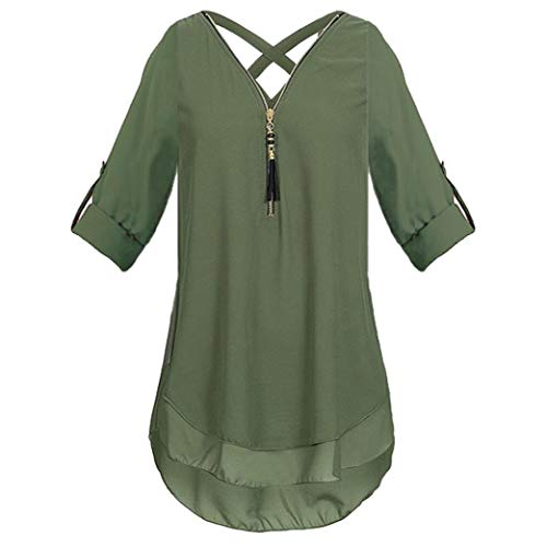 Chiffon T-Shirts,Toimoth Womens Zipper Pure Color V Neck Loose Casual Tops Tunic Blouse(Army Green,M)