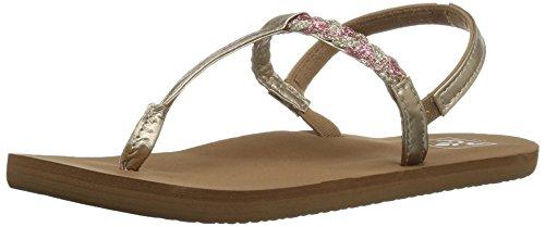 Reef Girls' Little Twisted T Flat Sandal, Tan/Pink, 7 M US Toddler ()