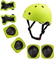 Kids Protective Gear Set Toddler Bike Helmet for 3-8 Years Boys Girls Adjustable Helmet Kids Knee Elbow Pads W