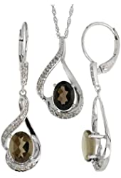 14k White Gold Dangle Earrings (19mm tall) & 18 in. Pendant-Necklace Set, w/ 0.20 Carat Brilliant Cut Diamonds & 3.64 Carats Oval Cut (7x5mm) Smoky Topaz Stones