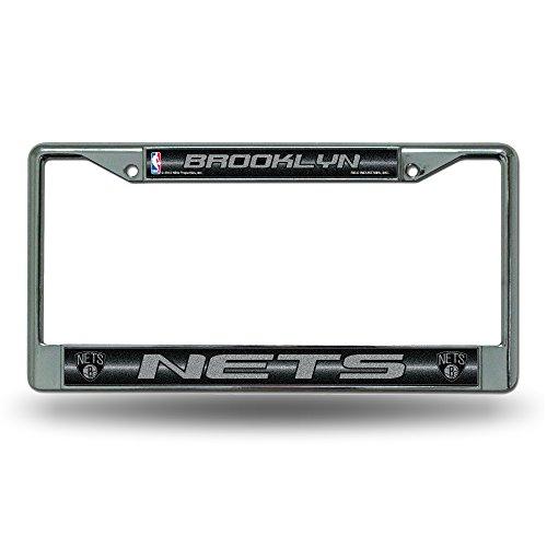 Team Baseball Brooklyn (NBA Brooklyn Nets Bling Chrome License Plate Frame with Glitter Accent)