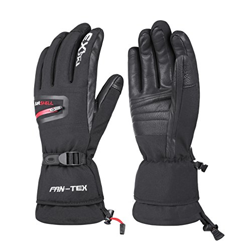 EXski Waterproof Windproof Men's Winter Ski Snowboard Snow Motorcycle Goat Skin Leather Palm Warm Gloves Extreme Cold Weather 150 Grams 3M Thinsulate Insulation Medium