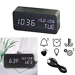 OFLILAK Wooden Digital Alarm Clock, 3 Levels Adjustable Brightness and Voice Control, Display Time Week Temperature Date for Bedroom Office Home(Black)