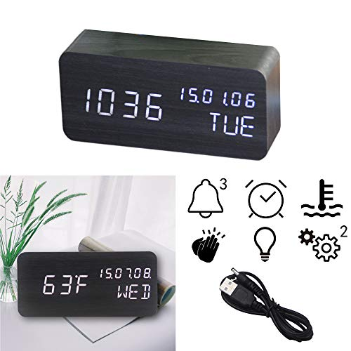OFLILAK Wooden Digital Alarm Clock, 3 Levels Adjustable Brightness and Voice Control, Display Time Week Temperature Date for Bedroom Office Home(Black)