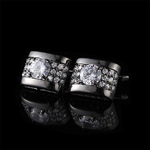 Zadaro Crystal Rhinestone mens dress shirts Cufflinks Elegant Style for Wedding Business Party 1Pair (Silver) ()