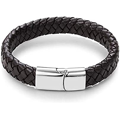 ZUOZUO Leather Wristband Punk Jewelry Black Brown Woven Leather Bracelet Stainless Steel Magnetic Buckle Bracelet 18 5 22 20 5Cm Estimated Price £21.99 -