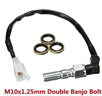 Alamor M10X 1.25 Mm Doble Banjo Bolt Moto Freno Hidr/áulico Interruptor De Luz