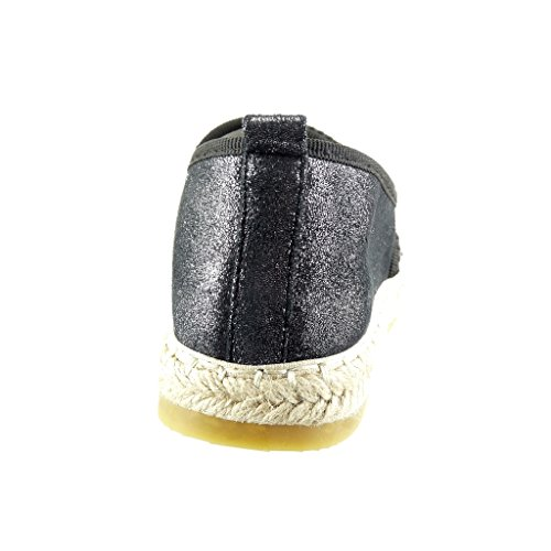 Angkorly - Chaussure Mode Espadrille slip-on femme bijoux multi-bride brillant Talon plat 2.5 CM - Noir