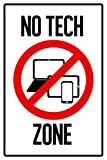 Laminated Warning Sign No Tech Zone Computers Laptop Tablet Cellular Phone Prohibited Poster 12x18 inch