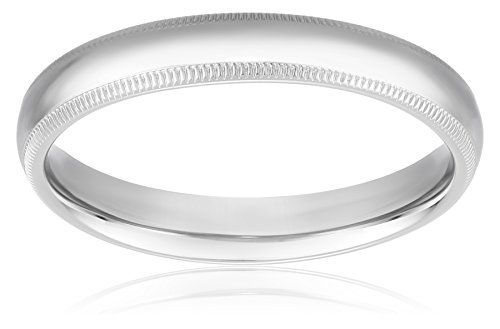 Standard Comfort-Fit 10K White Gold Milgrain Band, 4mm, Size ()
