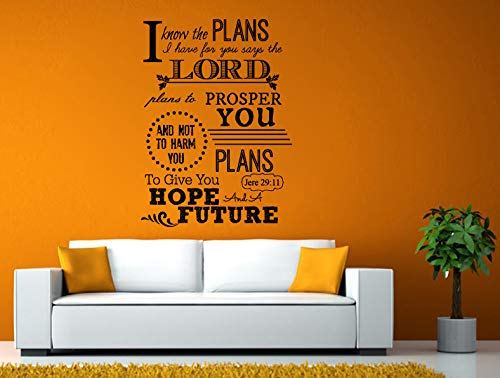 AdecalsNew Wall Decals Cute-Plans Lord Prosper Plans Hope Future Verse Quote Bible Jere 29:11 Wall or Window Sticker Decal Vinyl Fathead Mural Decor - Made in USA-Fast delivery