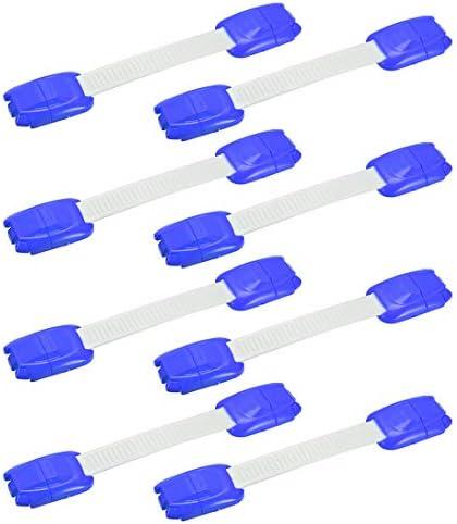 uxcell キャビネットロックブルーピッチ100mmチャイルドプルーフキャビネットラッチキッチンバスルーム ストレージドアノブ用8個