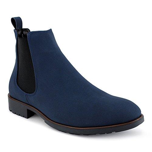 FiveSix Herren Business Anzug Stiefel Stiefeletten Boots Casual Schnür Hochzeit Chelsea Velours-Optik Halb Schuhe Blau-2