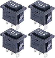TWTADE / 4Pcs (ON)-Off-(ON) SPDT Square Momentary Rocker Switch 3 Pin 3 Position 6A 250VAC/10A 125VAC Mini Car