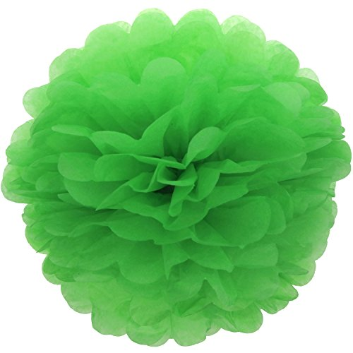 Lightingsky 10pcs DIY Decorative Tissue Paper Pom-poms Flowers Ball Perfect for Party Wedding Home Outdoor Decoration (10-inch Diameter, Green 2)