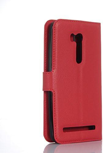 5.5pollici Ycloud Custodia Cover per Asus ZenFone 3 ZE552KL Portafoglio Tasca Book Folding Custodia In Pelle Con Supporto di Stand Cover Case Custodia Pelle Con Stilo Penna Rose Red
